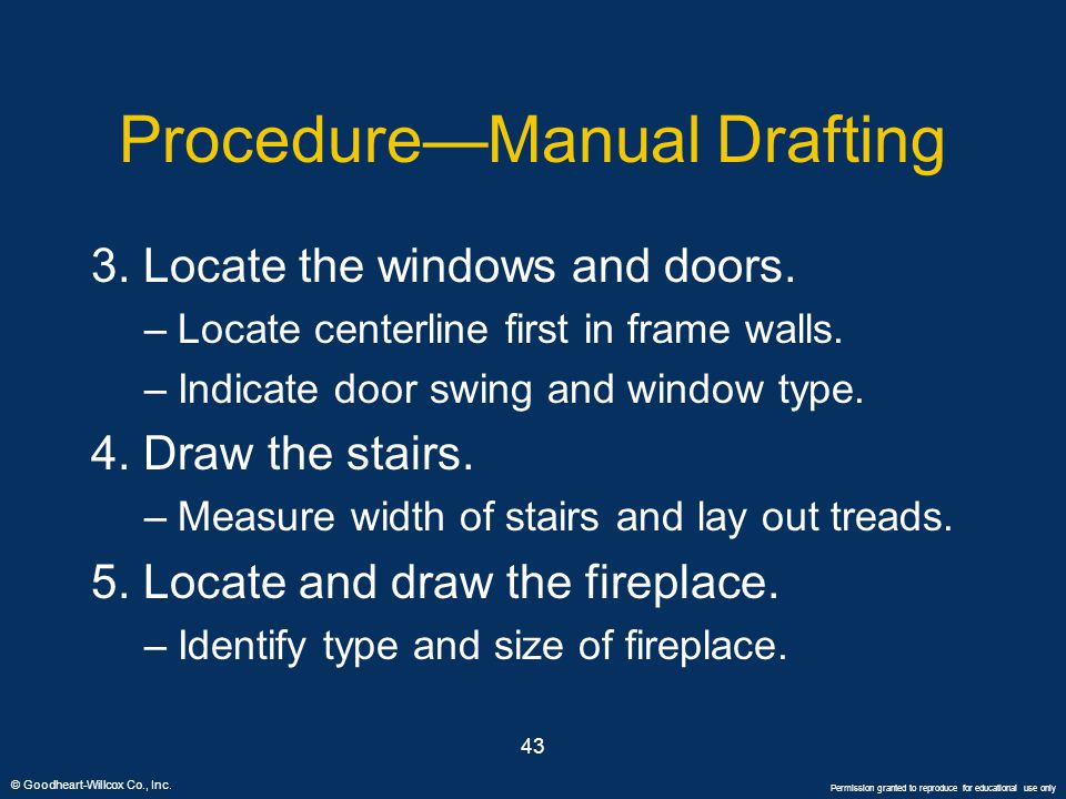 © Goodheart-Willcox Co., Inc. Permission granted to reproduce for educational use only 43 Procedure—Manual Drafting 3. Locate the windows and doors. –