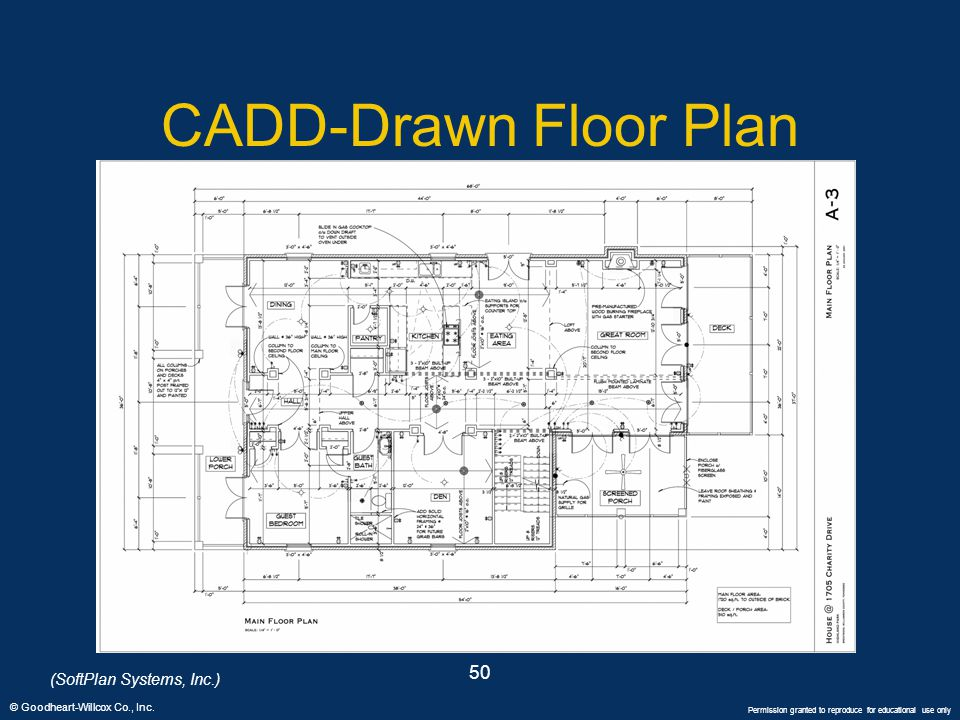 © Goodheart-Willcox Co., Inc. Permission granted to reproduce for educational use only 50 CADD-Drawn Floor Plan (SoftPlan Systems, Inc.)