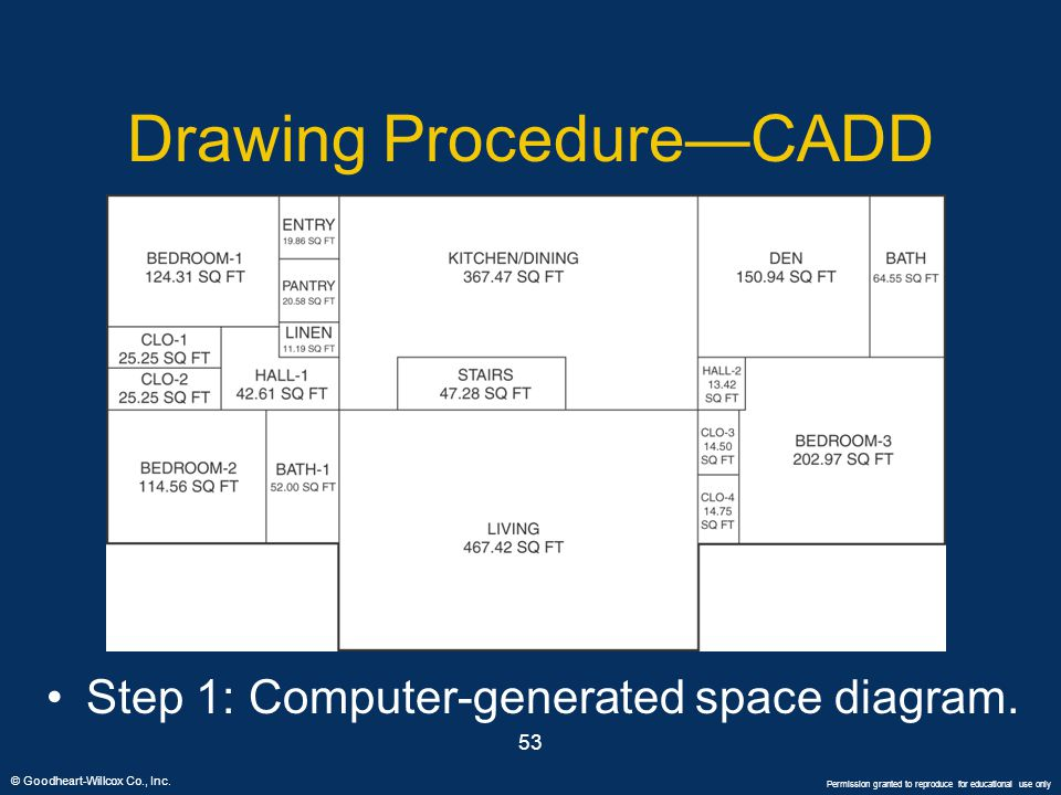 © Goodheart-Willcox Co., Inc. Permission granted to reproduce for educational use only 53 Drawing Procedure—CADD Step 1: Computer-generated space diag
