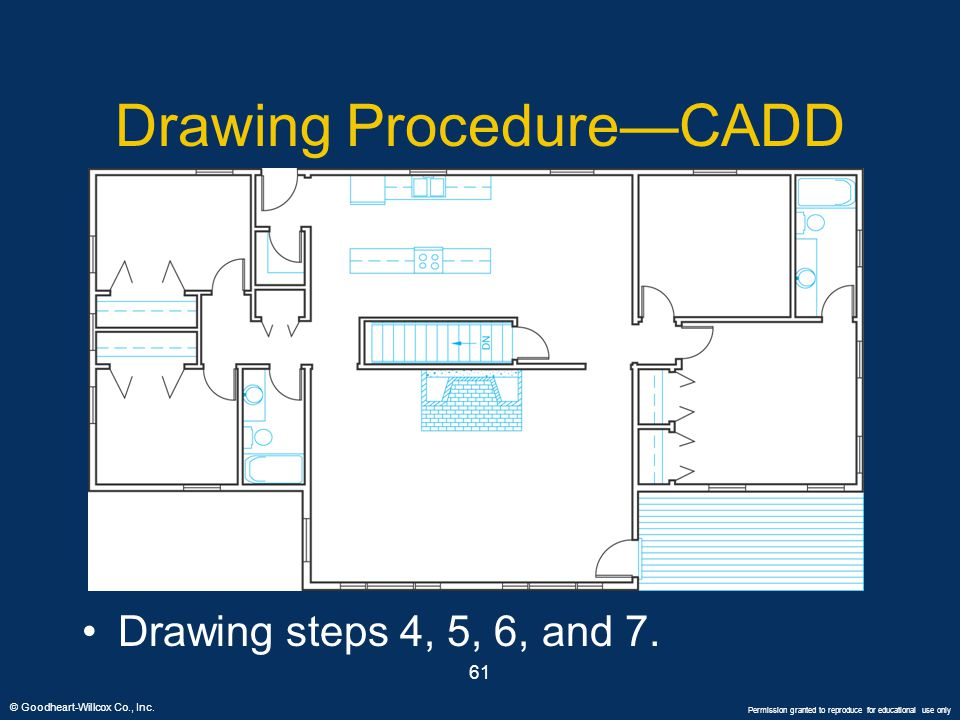 © Goodheart-Willcox Co., Inc. Permission granted to reproduce for educational use only 61 Drawing Procedure—CADD Drawing steps 4, 5, 6, and 7.