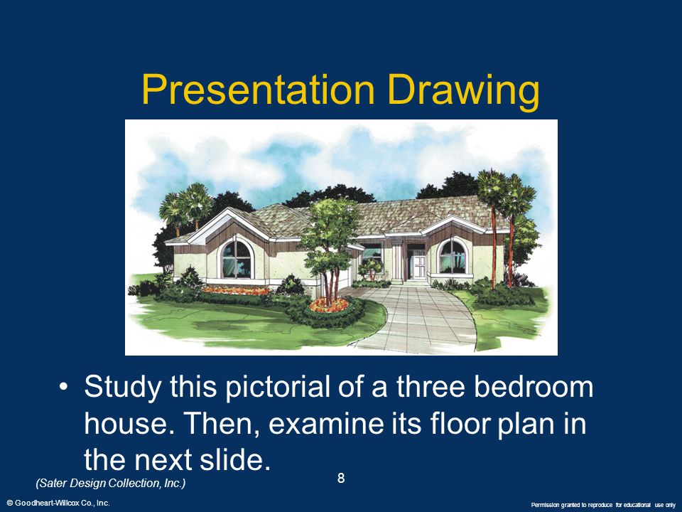 © Goodheart-Willcox Co., Inc. Permission granted to reproduce for educational use only 8 Presentation Drawing Study this pictorial of a three bedroom