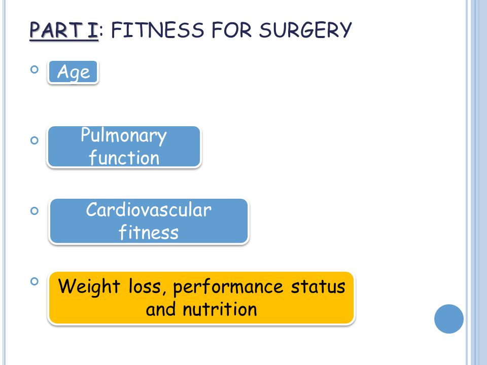 PART I PART I: FITNESS FOR SURGERY Age Pulmonary function Cardiovascular fitness Weight loss, performance status and nutrition