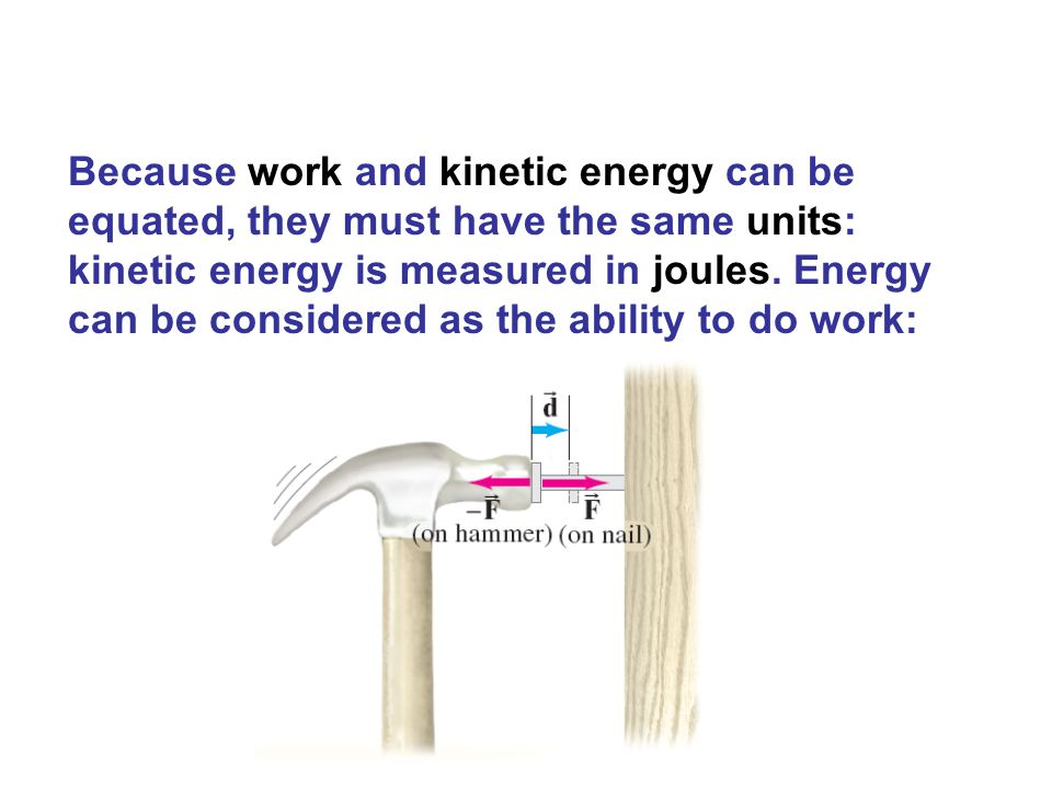 Because work and kinetic energy can be equated, they must have the same units: kinetic energy is measured in joules. Energy can be considered as the a