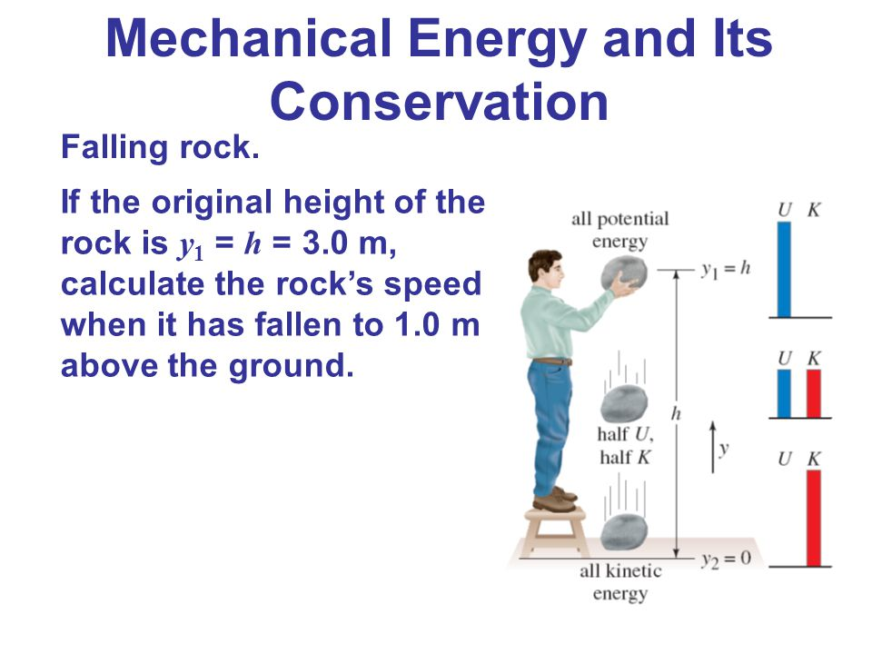 Falling rock. If the original height of the rock is y 1 = h = 3.0 m, calculate the rock's speed when it has fallen to 1.0 m above the ground. Mechanic