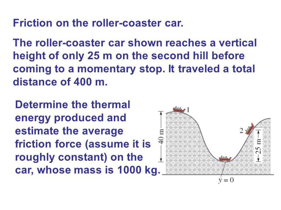 Friction on the roller-coaster car. The roller-coaster car shown reaches a vertical height of only 25 m on the second hill before coming to a momentar