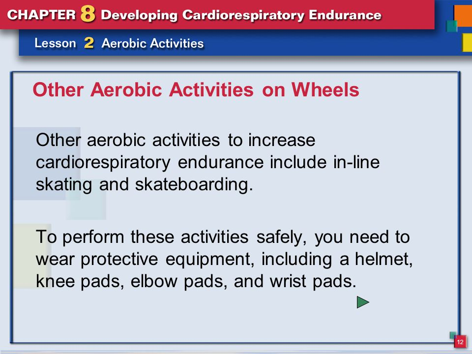 12 Other Aerobic Activities on Wheels Other aerobic activities to increase cardiorespiratory endurance include in-line skating and skateboarding.