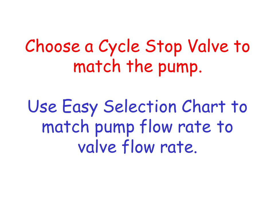 Choose a Cycle Stop Valve to match the pump. Use Easy Selection Chart to match pump flow rate to valve flow rate.