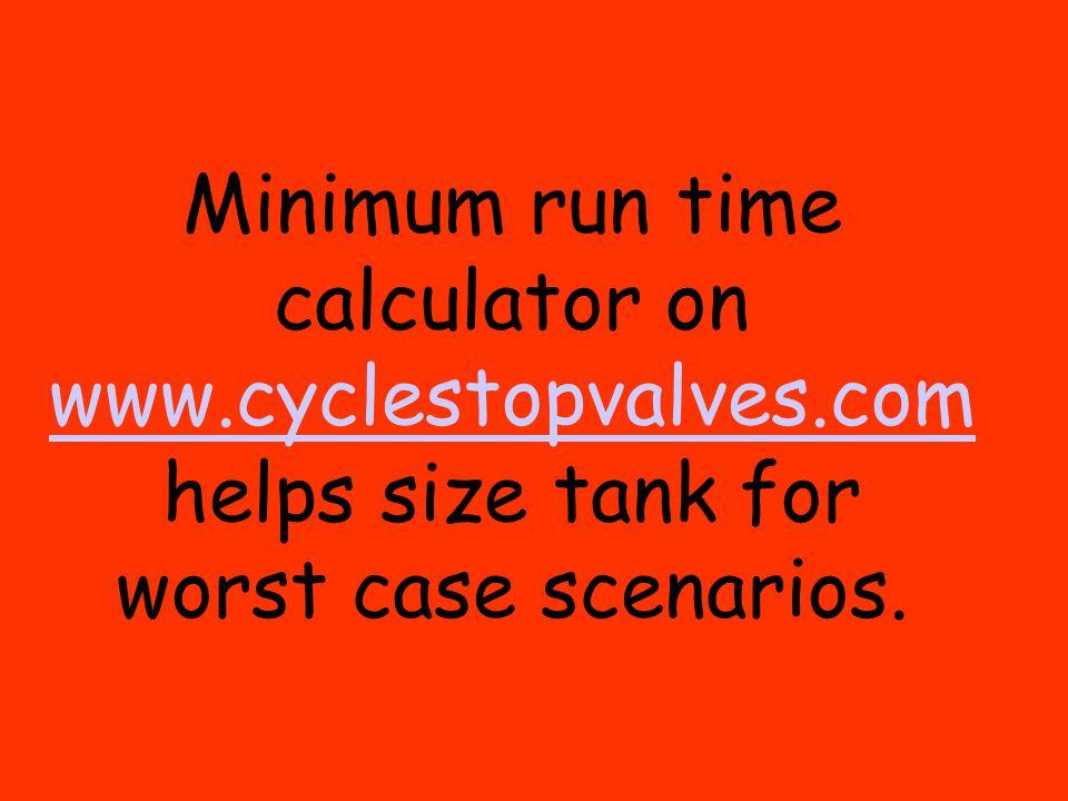 Minimum run time calculator on www.cyclestopvalves.com helps size tank for worst case scenarios. www.cyclestopvalves.com