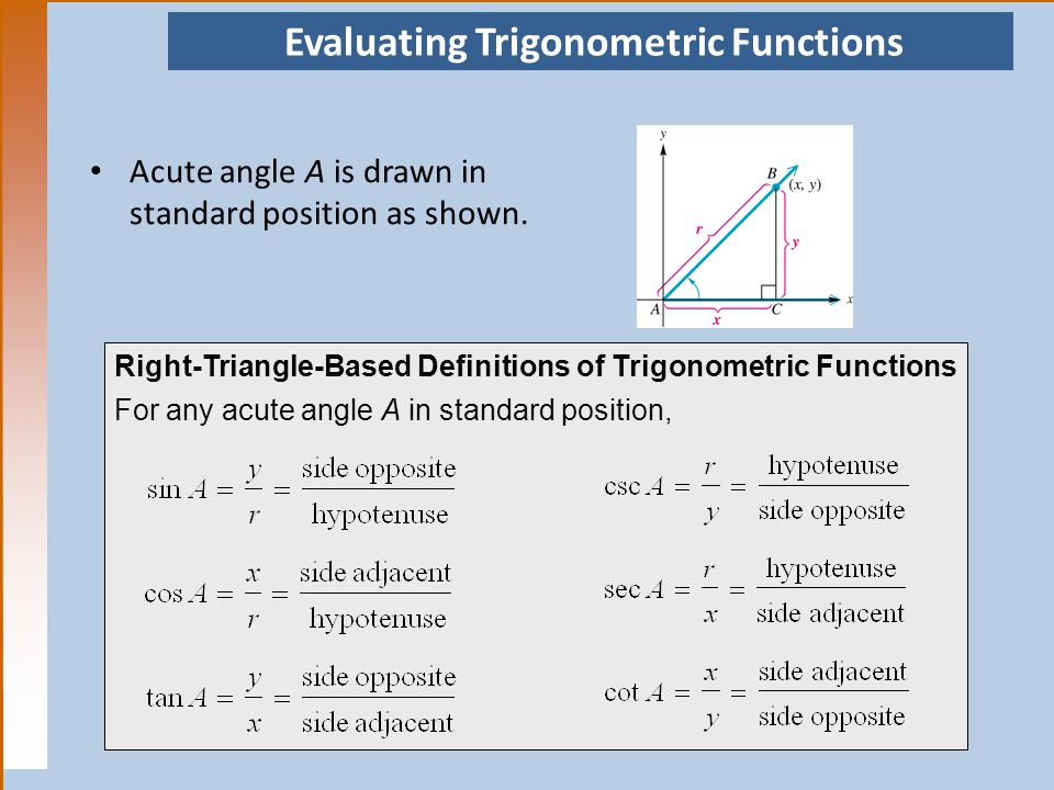 Evaluating Trigonometric Functions Acute angle A is drawn in standard position as shown.