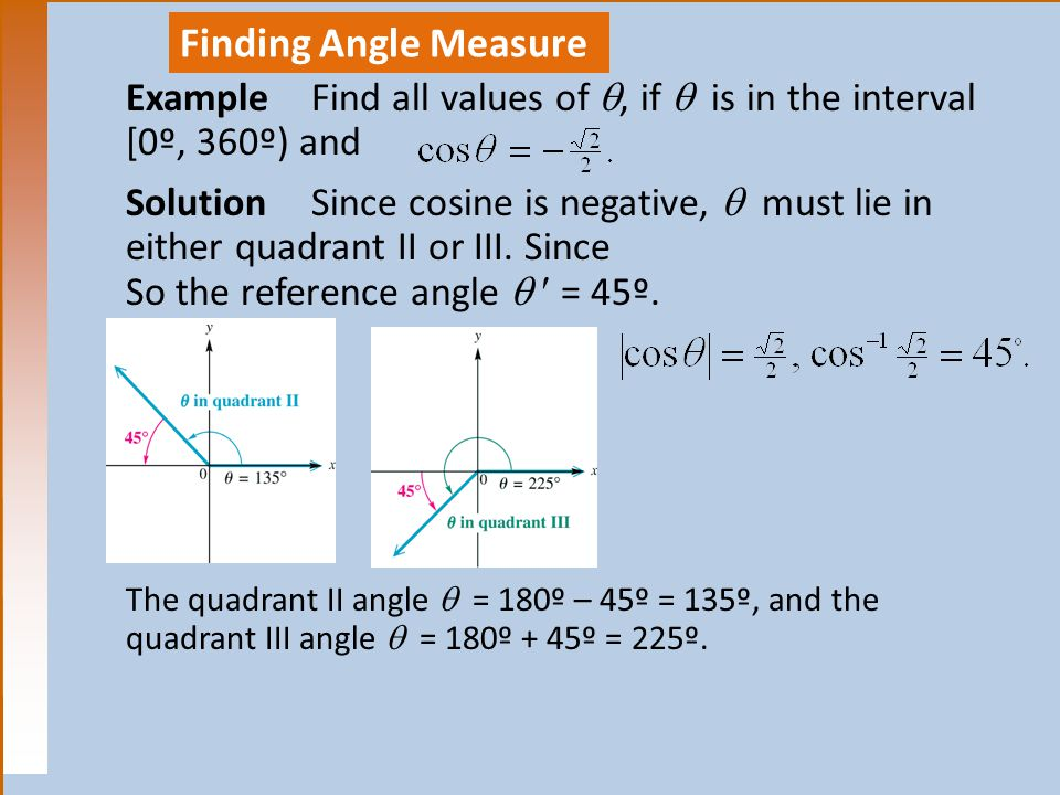 Finding Angle Measure ExampleFind all values of , if  is in the interval [0º, 360º) and SolutionSince cosine is negative,  must lie in either quadrant II or III.