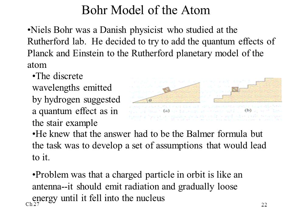Ch 27 22 Bohr Model of the Atom Niels Bohr was a Danish physicist who studied at the Rutherford lab.