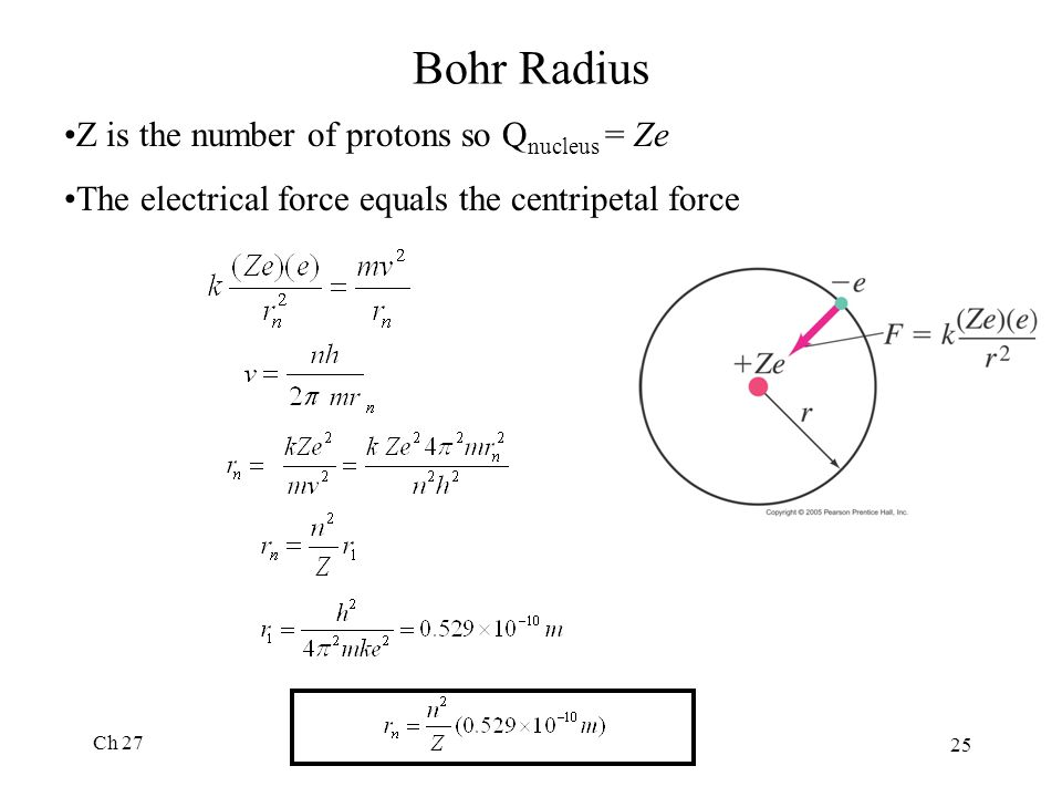 Ch 27 25 Bohr Radius Z is the number of protons so Q nucleus = Ze The electrical force equals the centripetal force