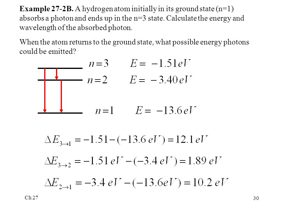 Ch 27 30 Example 27-2B. A hydrogen atom initially in its ground state (n=1) absorbs a photon and ends up in the n=3 state. Calculate the energy and wa