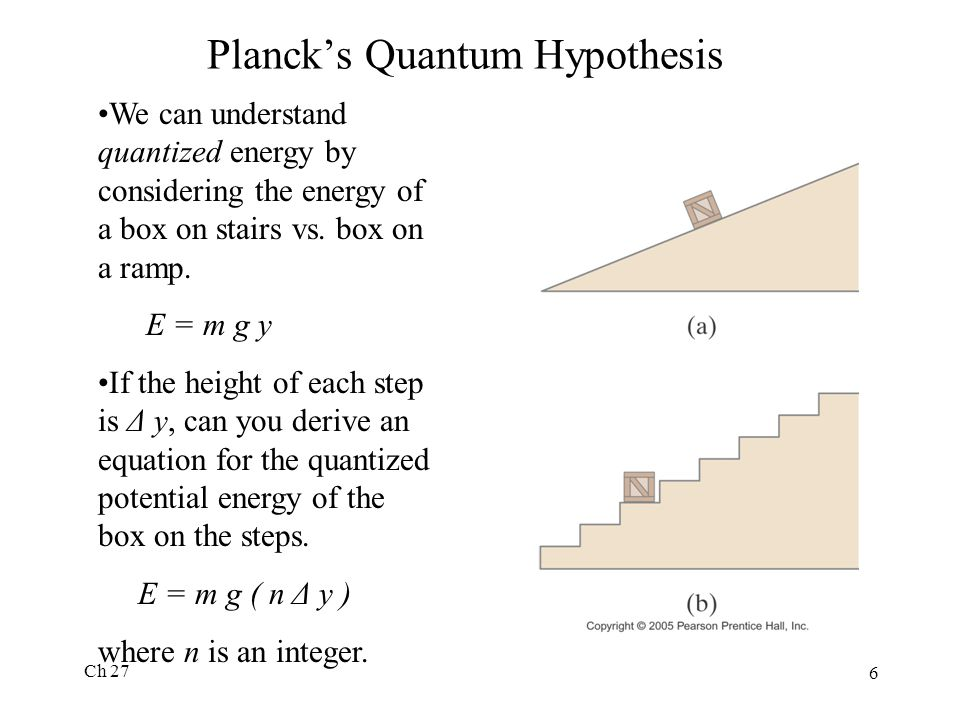 Ch 27 6 Planck's Quantum Hypothesis We can understand quantized energy by considering the energy of a box on stairs vs.