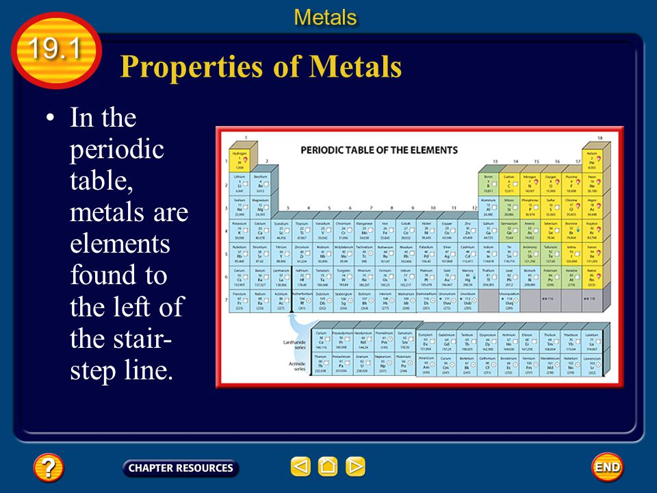 Properties of Metals In the periodic table, metals are elements found to the left of the stair- step line.