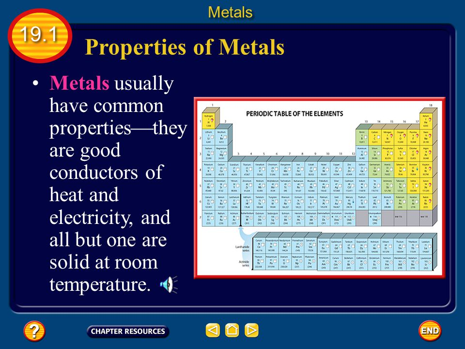 Properties of Metals Metals usually have common properties  they are good conductors of heat and electricity, and all but one are solid at room temperature.