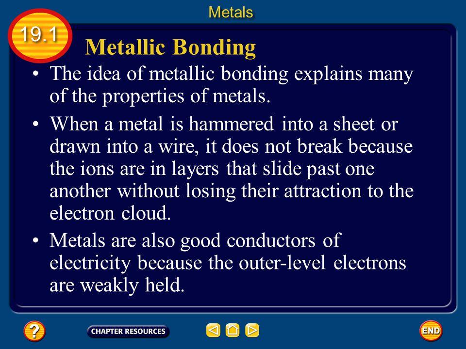 Metallic Bonding The idea of metallic bonding explains many of the properties of metals.