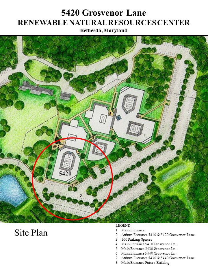 Site Plan LEGEND 1 Main Entrance 2 Atrium Entrance 5410 & 5420 Grosvenor Lane 3 100 Parking Spaces 4 Main Entrance 5410 Grosvenor Ln.