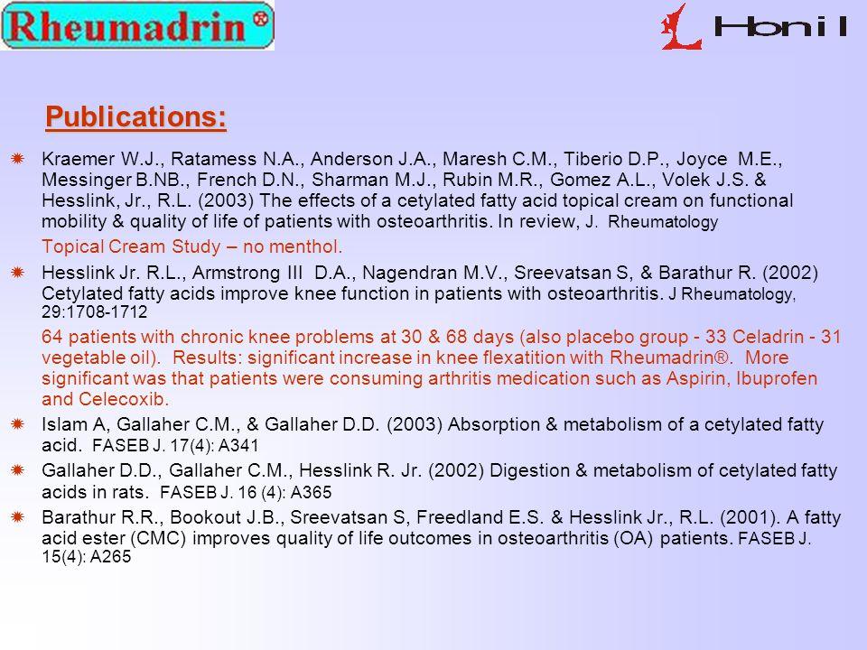 Publications:  Kraemer W.J., Ratamess N.A., Anderson J.A., Maresh C.M., Tiberio D.P., Joyce M.E., Messinger B.NB., French D.N., Sharman M.J., Rubin M.R., Gomez A.L., Volek J.S.