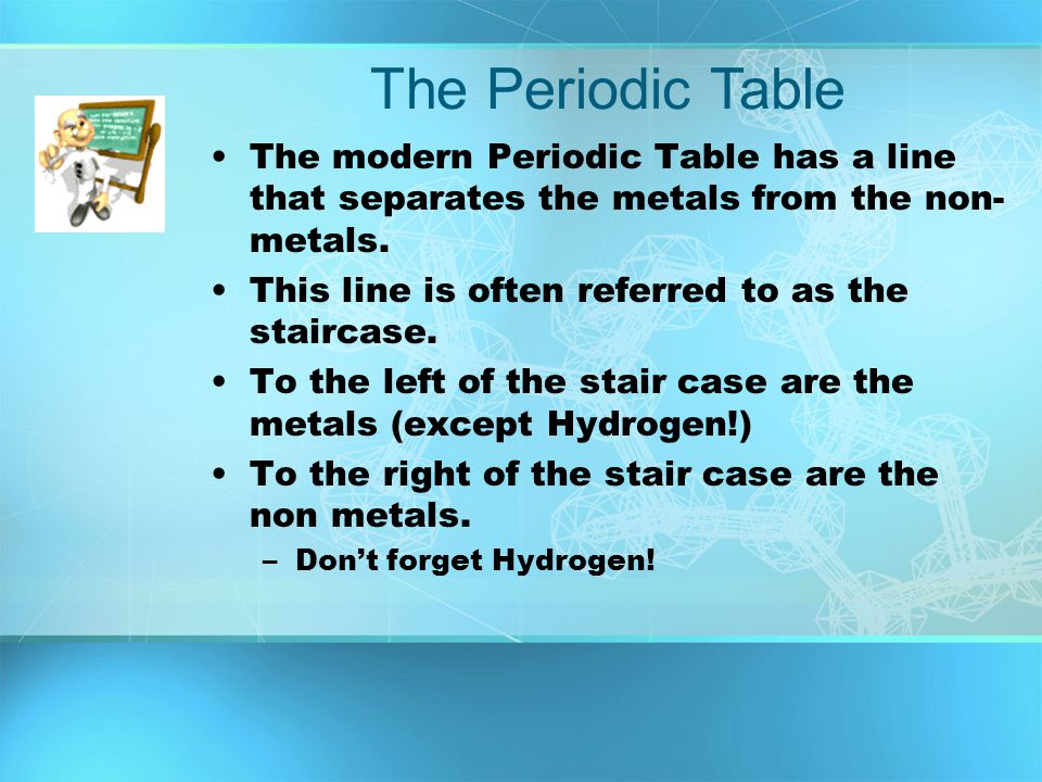 The modern Periodic Table has a line that separates the metals from the non- metals. This line is often referred to as the staircase. To the left of t