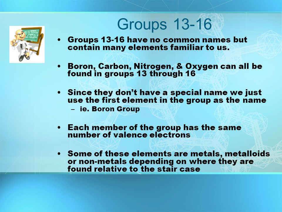Groups 13-16 Groups 13-16 have no common names but contain many elements familiar to us. Boron, Carbon, Nitrogen, & Oxygen can all be found in groups