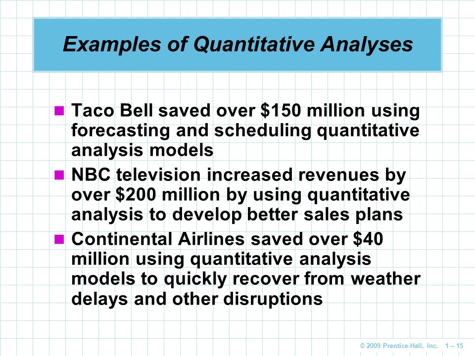 © 2009 Prentice-Hall, Inc. 1 – 15 Examples of Quantitative Analyses Taco Bell saved over $150 million using forecasting and scheduling quantitative an