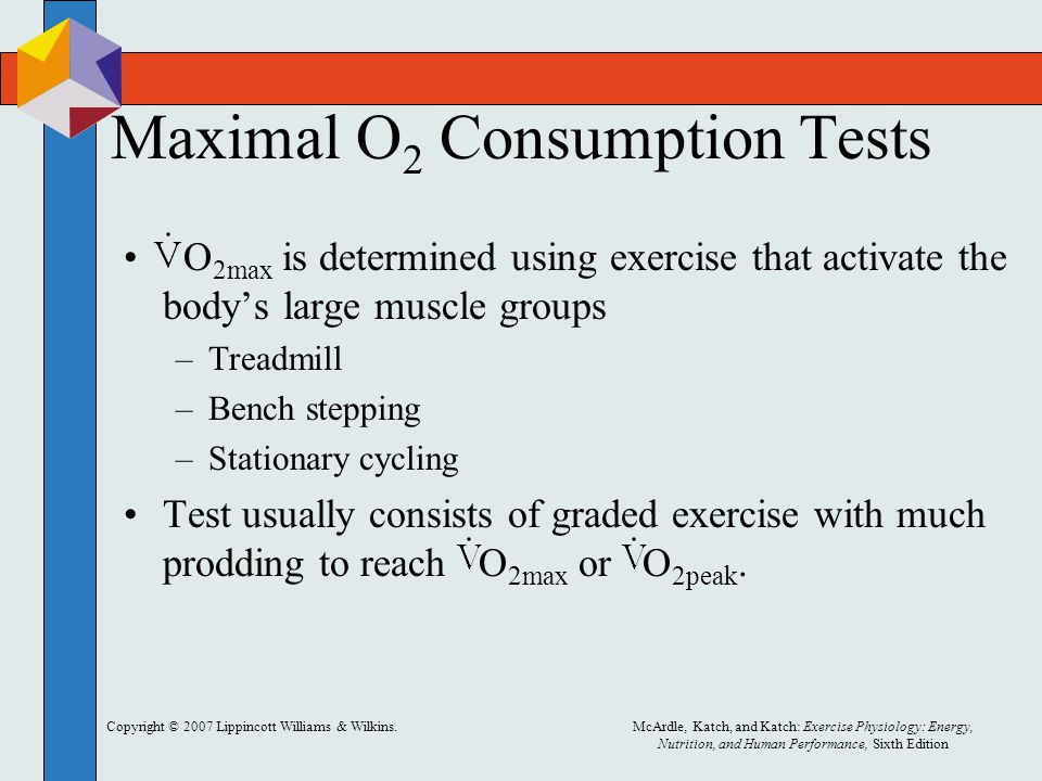 Copyright © 2007 Lippincott Williams & Wilkins.McArdle, Katch, and Katch: Exercise Physiology: Energy, Nutrition, and Human Performance, Sixth Edition Maximal O 2 Consumption Tests O 2max is determined using exercise that activate the body's large muscle groups –Treadmill –Bench stepping –Stationary cycling Test usually consists of graded exercise with much prodding to reach O 2max or O 2peak.
