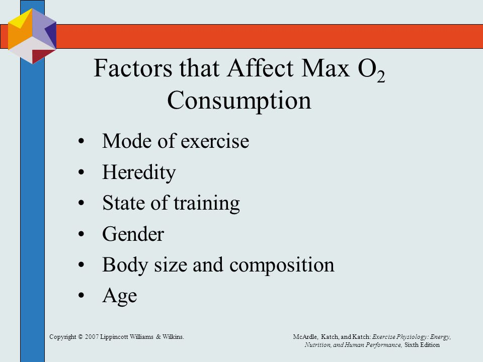 Copyright © 2007 Lippincott Williams & Wilkins.McArdle, Katch, and Katch: Exercise Physiology: Energy, Nutrition, and Human Performance, Sixth Edition Factors that Affect Max O 2 Consumption Mode of exercise Heredity State of training Gender Body size and composition Age