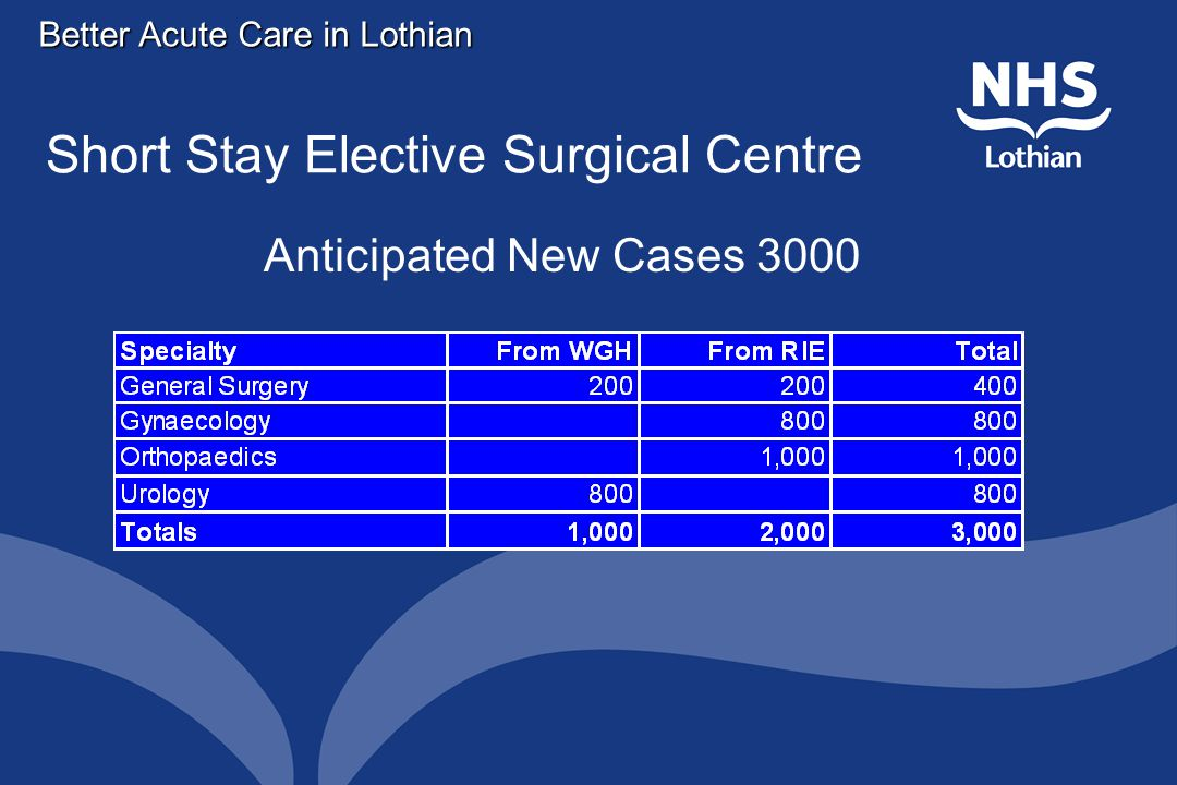 Short Stay Elective Surgical Centre Anticipated New Cases 3000