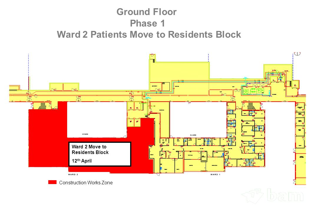 Ground Floor Phase 1 Ward 2 Patients Move to Residents Block Ward 2 Move to Residents Block 12 th April Construction Works Zone
