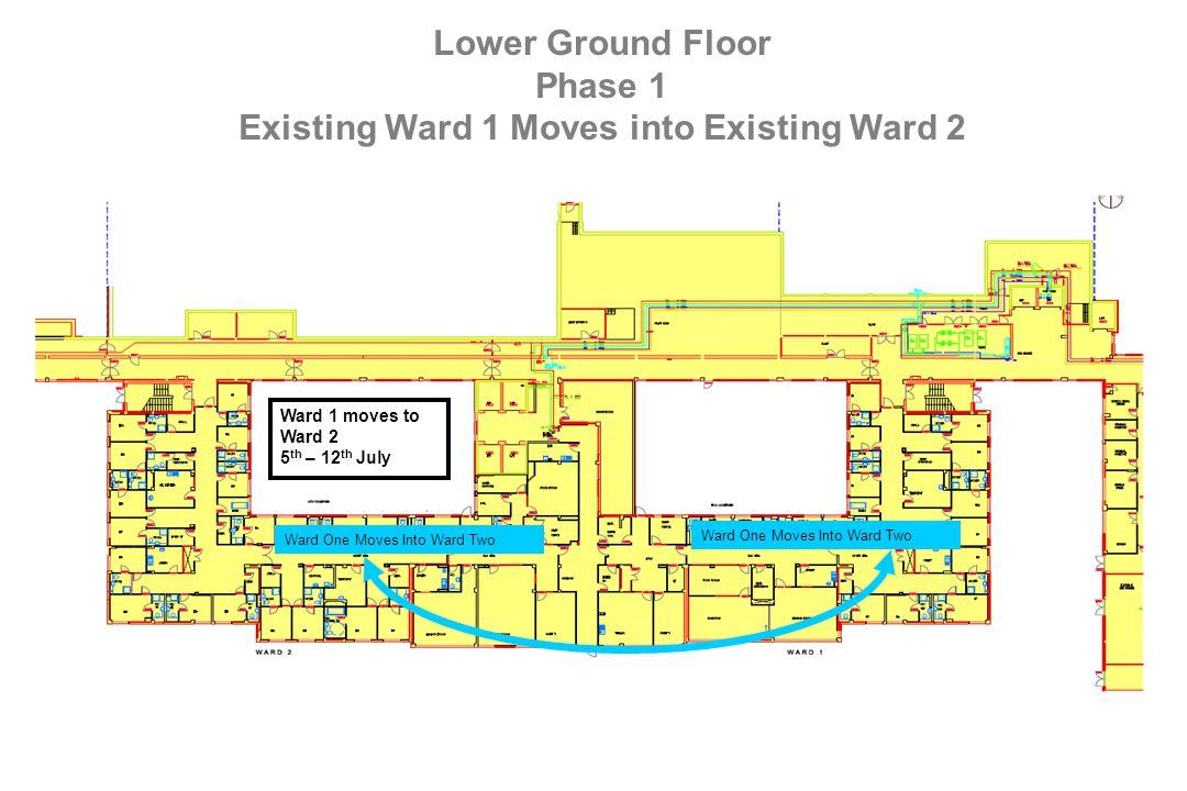 Lower Ground Floor Phase 1 Existing Ward 1 Moves into Existing Ward 2 Ward One Moves Into Ward Two Ward 1 moves to Ward 2 5 th – 12 th July