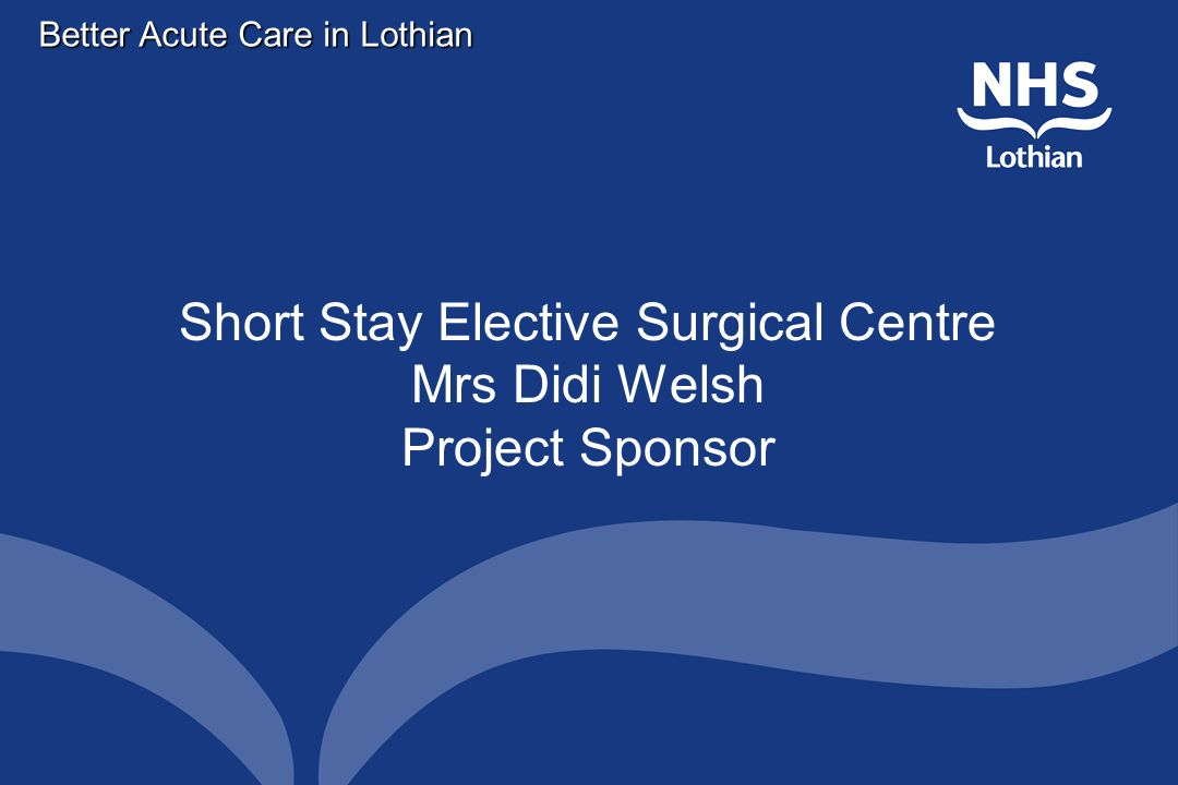 Better Acute Care in Lothian Short Stay Elective Surgical Centre Mrs Didi Welsh Project Sponsor