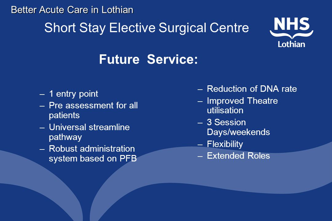 Better Acute Care in Lothian Short Stay Elective Surgical Centre Future Service: –1 entry point –Pre assessment for all patients –Universal streamline pathway –Robust administration system based on PFB –Reduction of DNA rate –Improved Theatre utilisation –3 Session Days/weekends –Flexibility –Extended Roles
