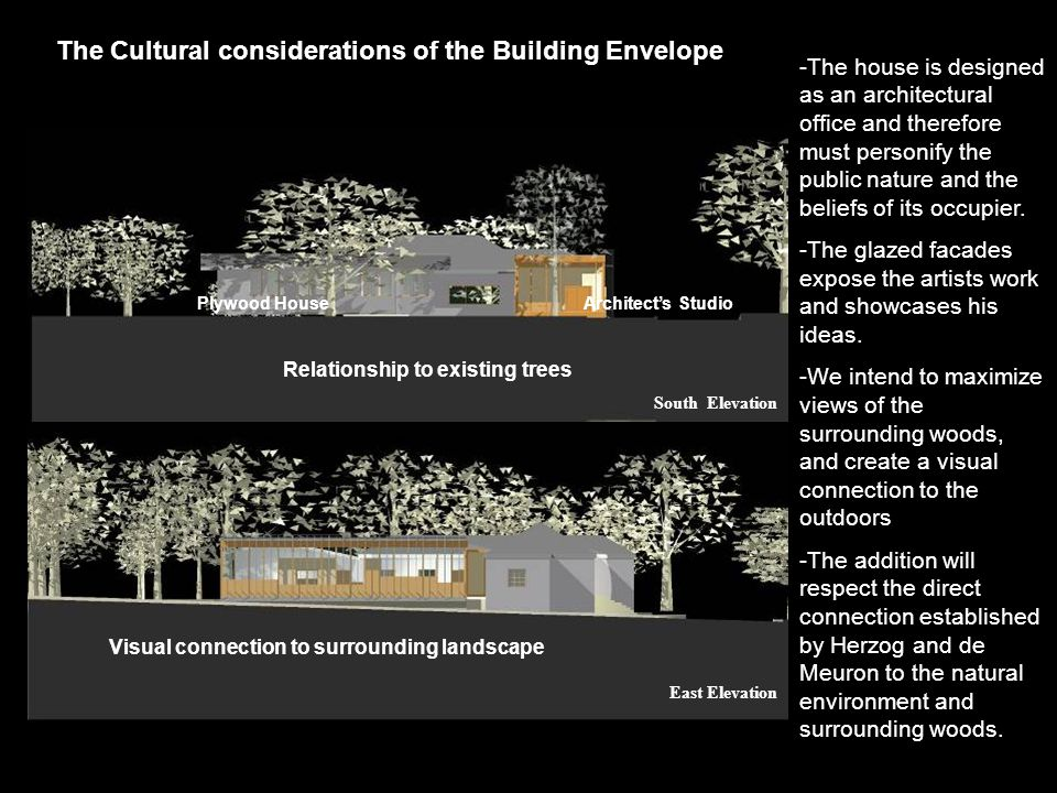 The Cultural considerations of the Building Envelope -The house is designed as an architectural office and therefore must personify the public nature and the beliefs of its occupier.