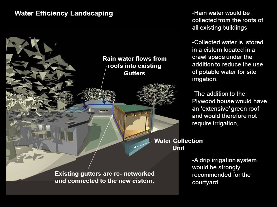 -Rain water would be collected from the roofs of all existing buildings -Collected water is stored in a cistern located in a crawl space under the addition to reduce the use of potable water for site irrigation, -The addition to the Plywood house would have an 'extensive' green roof and would therefore not require irrigation, -A drip irrigation system would be strongly recommended for the courtyard Water Efficiency Landscaping Water Collection Unit Rain water flows from roofs into existing Gutters Existing gutters are re- networked and connected to the new cistern.