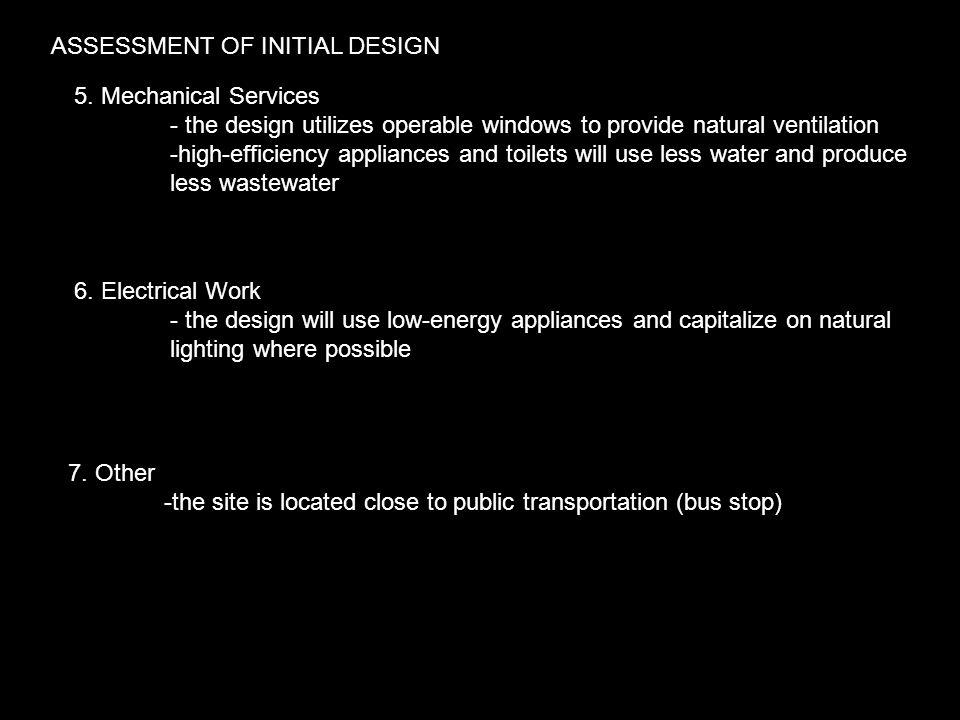 ASSESSMENT OF INITIAL DESIGN 5.
