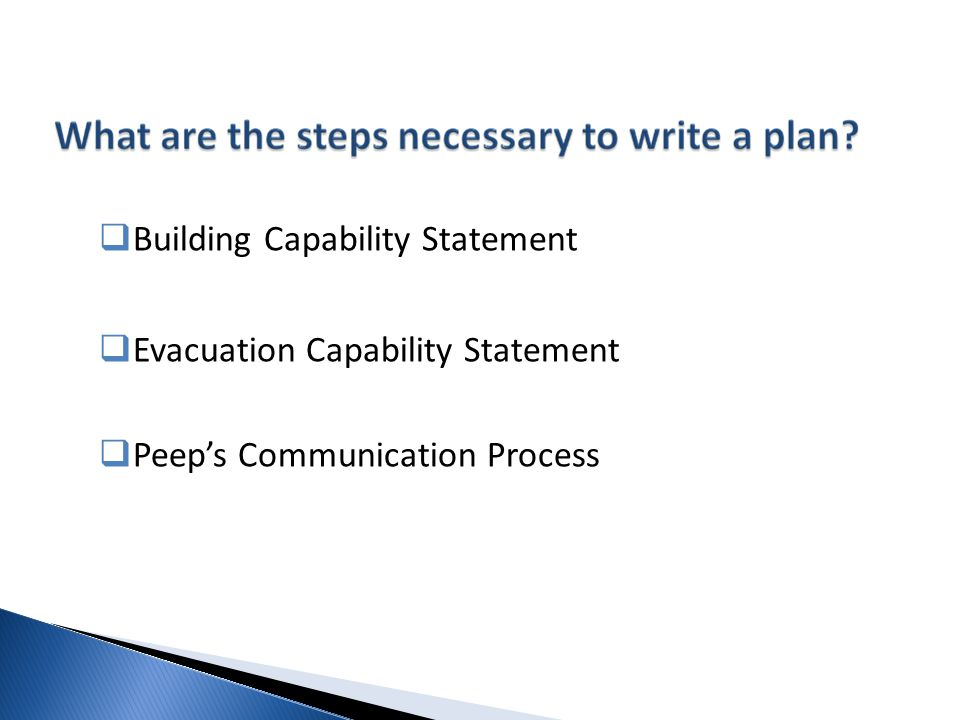  Building Capability Statement  Evacuation Capability Statement  Peep's Communication Process