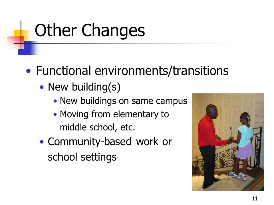 11 Other Changes Functional environments/transitions New building(s) New buildings on same campus Moving from elementary to middle school, etc.