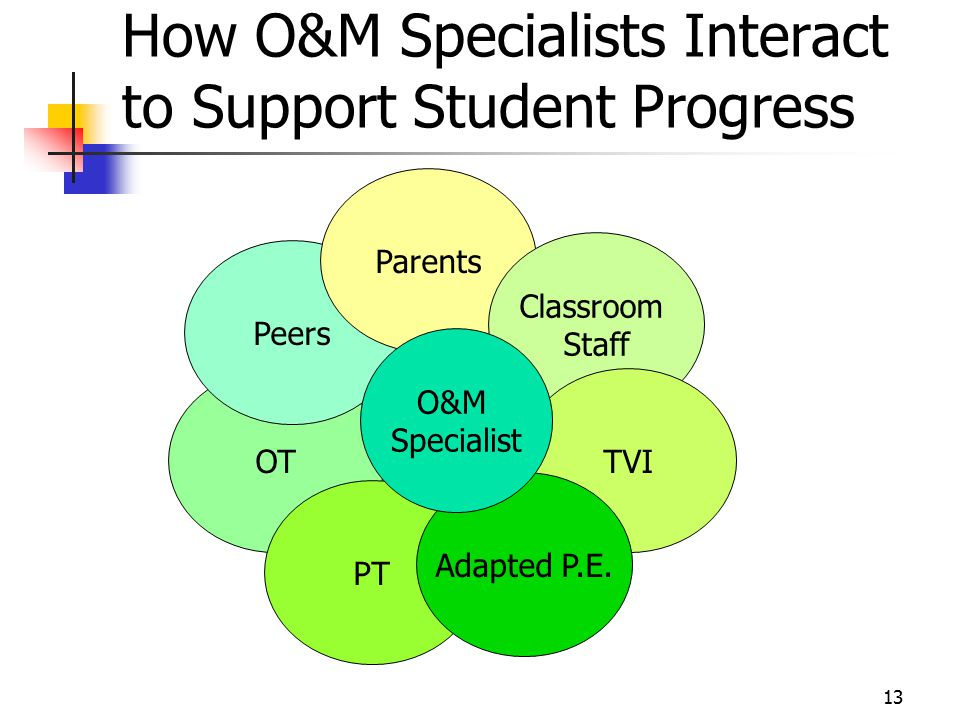 How O&M Specialists Interact to Support Student Progress O&M specialist interact with the following : Parents Classroom Staff TVI Adapted P.E.