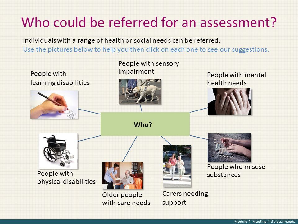 Who could be referred for an assessment? People with sensory impairment People with physical disabilities People with mental health needs Older people
