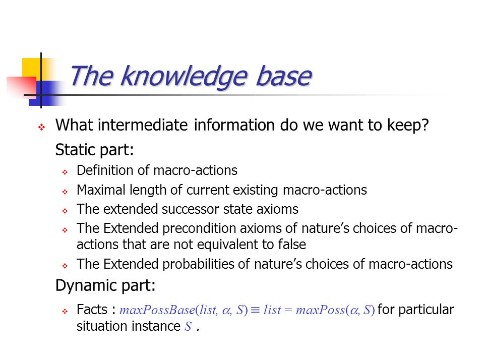 The knowledge base  What intermediate information do we want to keep? Static part:  Definition of macro-actions  Maximal length of current existing