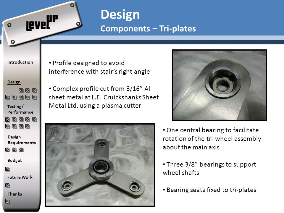 "Design Components – Tri-plates Profile designed to avoid interference with stair's right angle Complex profile cut from 3/16"" Al sheet metal at L.E. C"