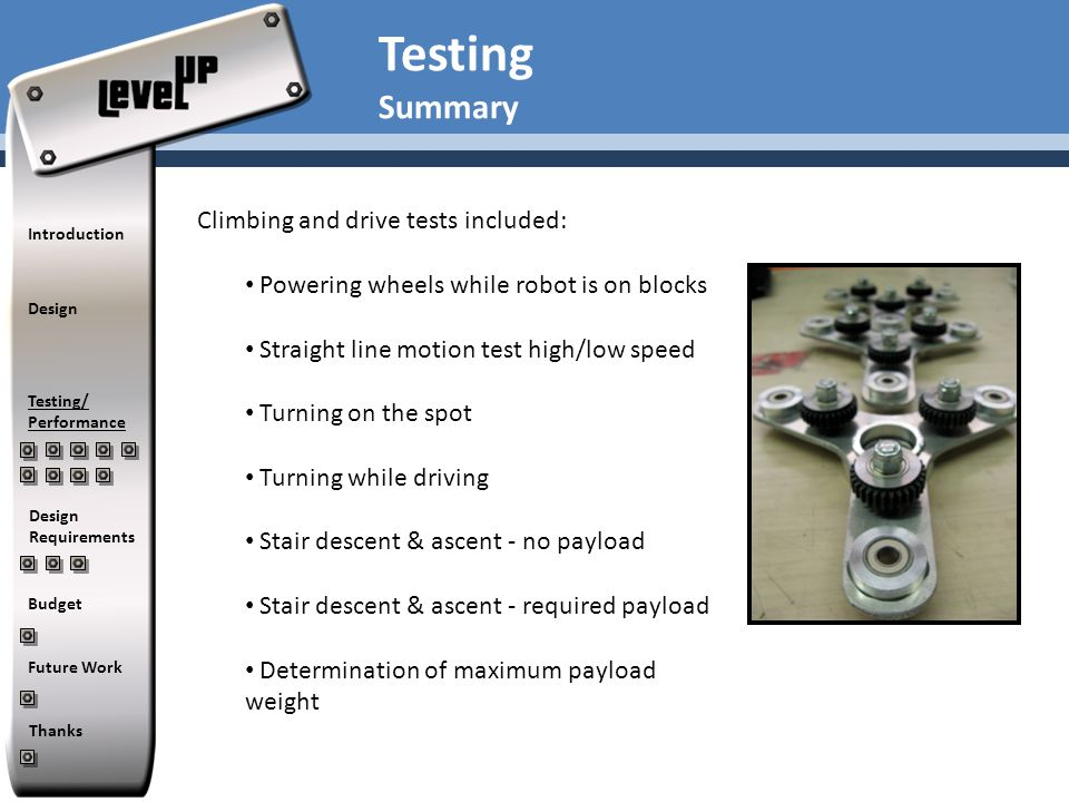 Testing Summary Climbing and drive tests included: Powering wheels while robot is on blocks Straight line motion test high/low speed Turning on the sp