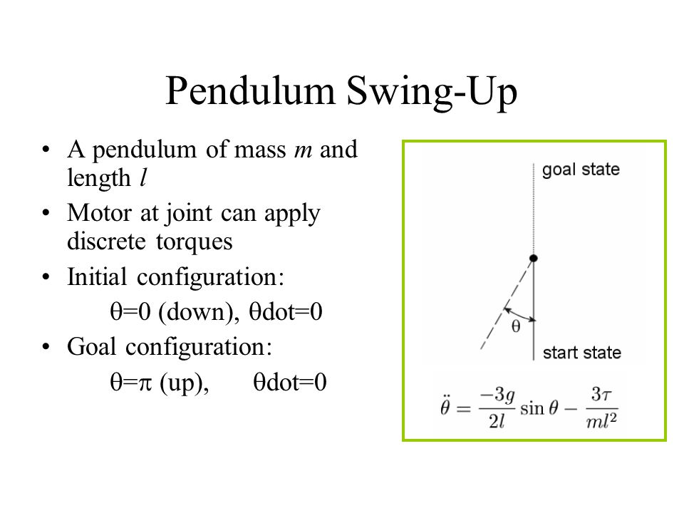 Pendulum Swing-Up A pendulum of mass m and length l Motor at joint can apply discrete torques Initial configuration:  =0 (down),  dot=0 Goal configuration:  =  (up),  dot=0