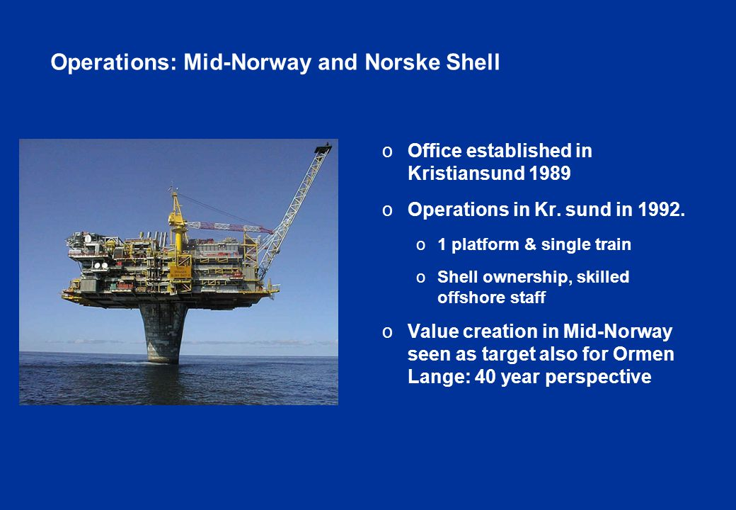 Operations: Mid-Norway and Norske Shell o Office established in Kristiansund 1989 o Operations in Kr.