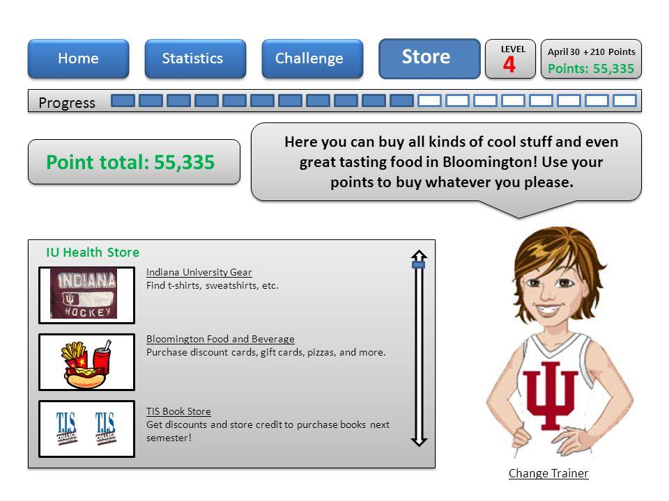 Home Store Progress StatisticsChallenge Hey you.