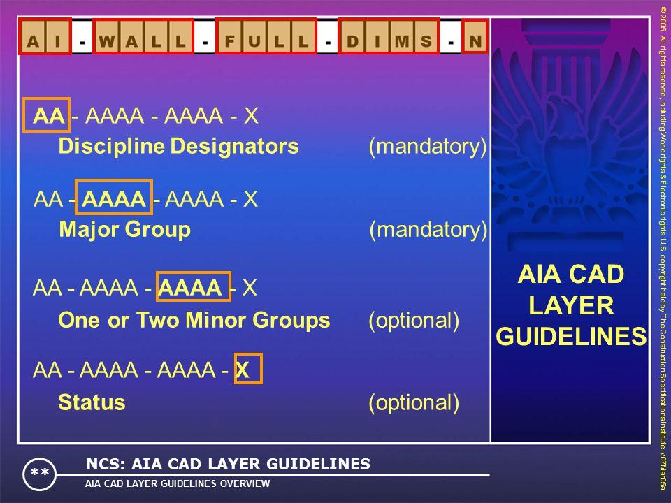 AA - AAAA - AAAA - X Major Group (mandatory) © 2005.
