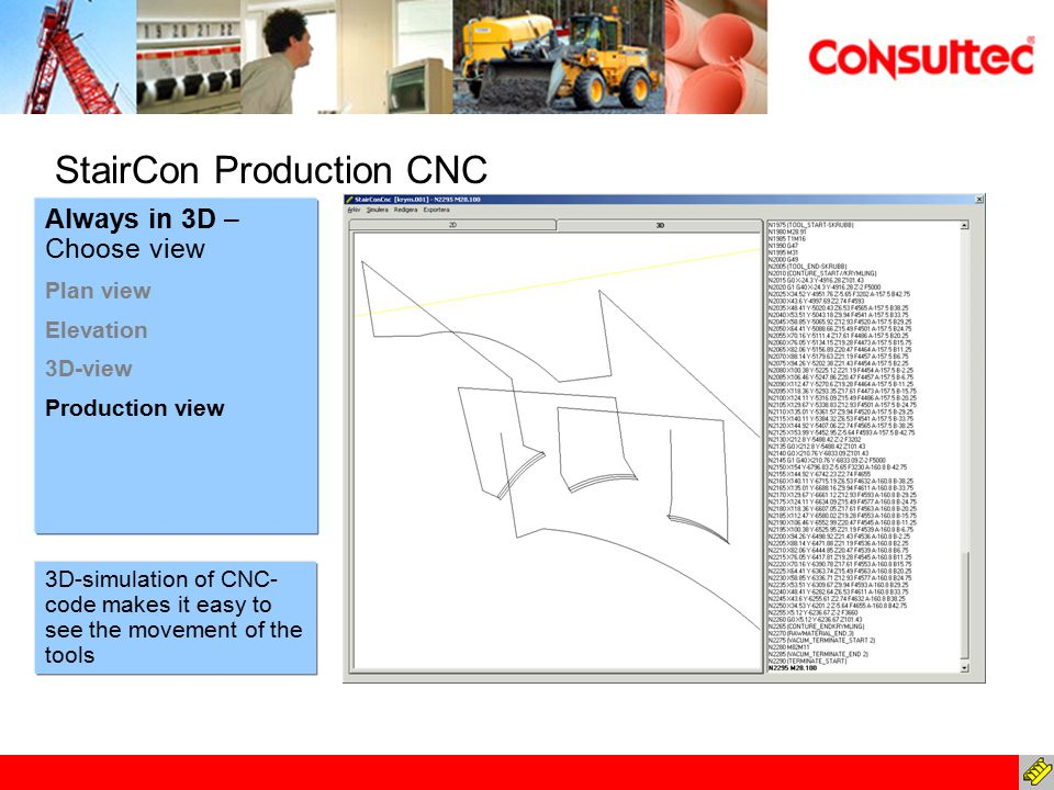 Always in 3D – Choose view Plan view Elevation 3D-view Production view StairCon Production CNC 3D-simulation of CNC- code makes it easy to see the mov
