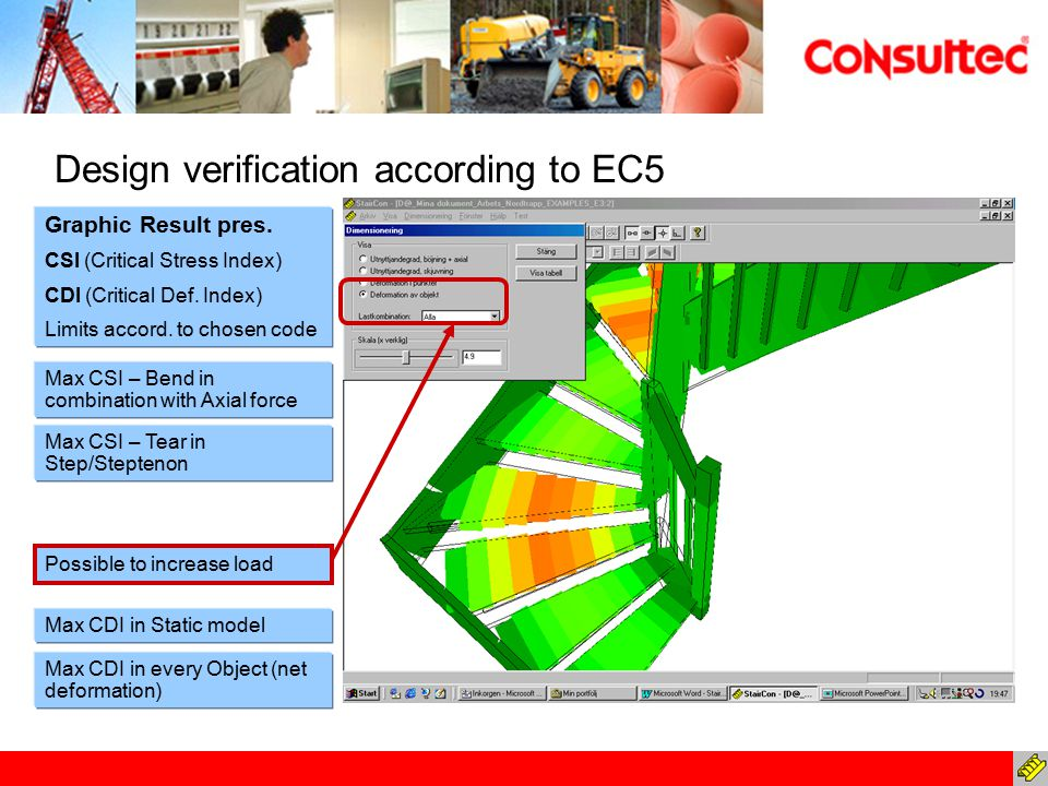 Design verification according to EC5 Max CDI in Static model Max CDI in every Object (net deformation) Graphic Result pres. CSI (Critical Stress Index