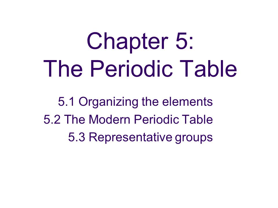 Section 5.1 Organization of the Elements